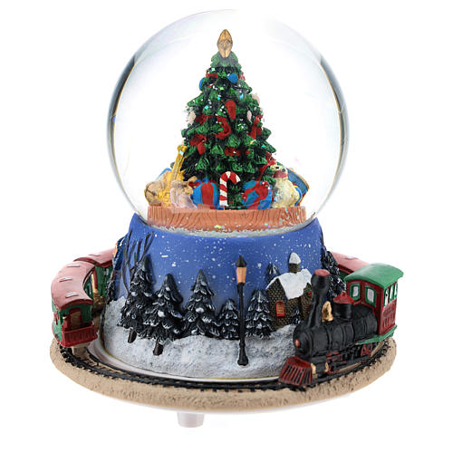 Snowball with Christmas tree and train h. 15 cm 4