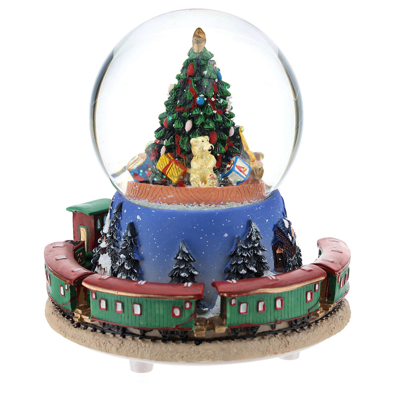 Boule en verre avec arbre de Noël et train carillon h 15 cm 3