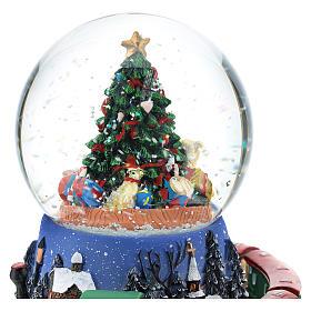 Boule en verre avec arbre de Noël et train carillon h 15 cm s2