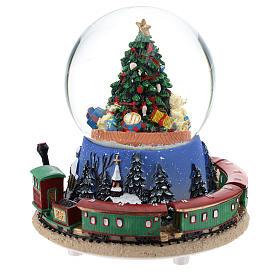 Boule en verre avec arbre de Noël et train carillon h 15 cm s3