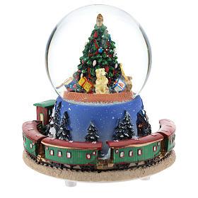 Boule en verre avec arbre de Noël et train carillon h 15 cm s5