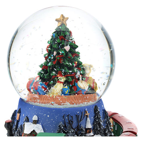 Palla di neve con albero di Natale e trenino carillon h. 15 cm 2