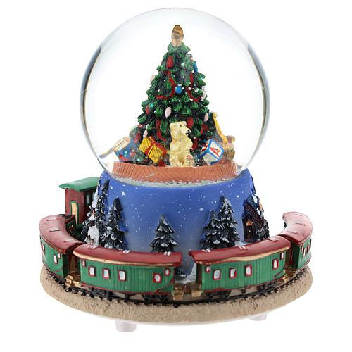 Palla di neve con albero di Natale e trenino carillon h. 15 cm 5