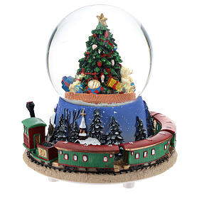 Snow globe with Christmas tree and train music h. 15 cm s3
