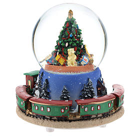 Snow globe with Christmas tree and train music h. 15 cm s5