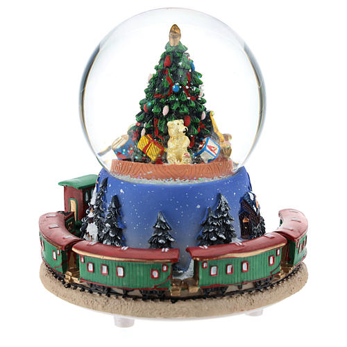 Snow globe with Christmas tree and train music h. 15 cm 5