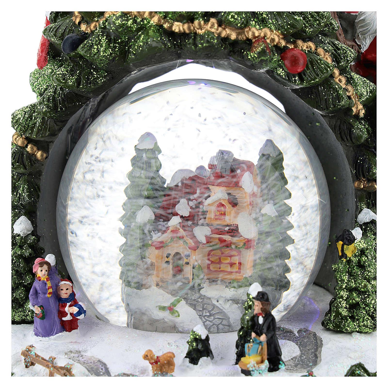 Schneekugel mit Winterdorf und Weihnachtsbaum, 25 cm hoch 3