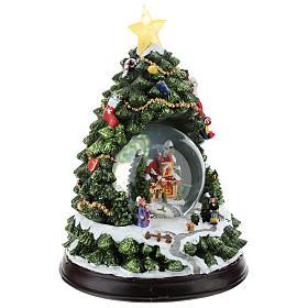 Schneekugel mit Winterdorf und Weihnachtsbaum, 25 cm hoch s4