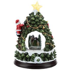 Schneekugel mit Winterdorf und Weihnachtsbaum, 25 cm hoch s5