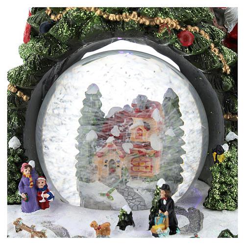 Schneekugel mit Winterdorf und Weihnachtsbaum, 25 cm hoch 2