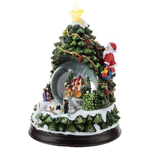 Albero di Natale con palla di neve h. 25 cm 3