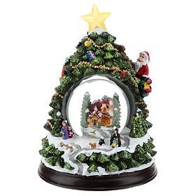 Esferas de Vidro de Natal com neve: Árvore de Natal com globo de neve altura 25 cm