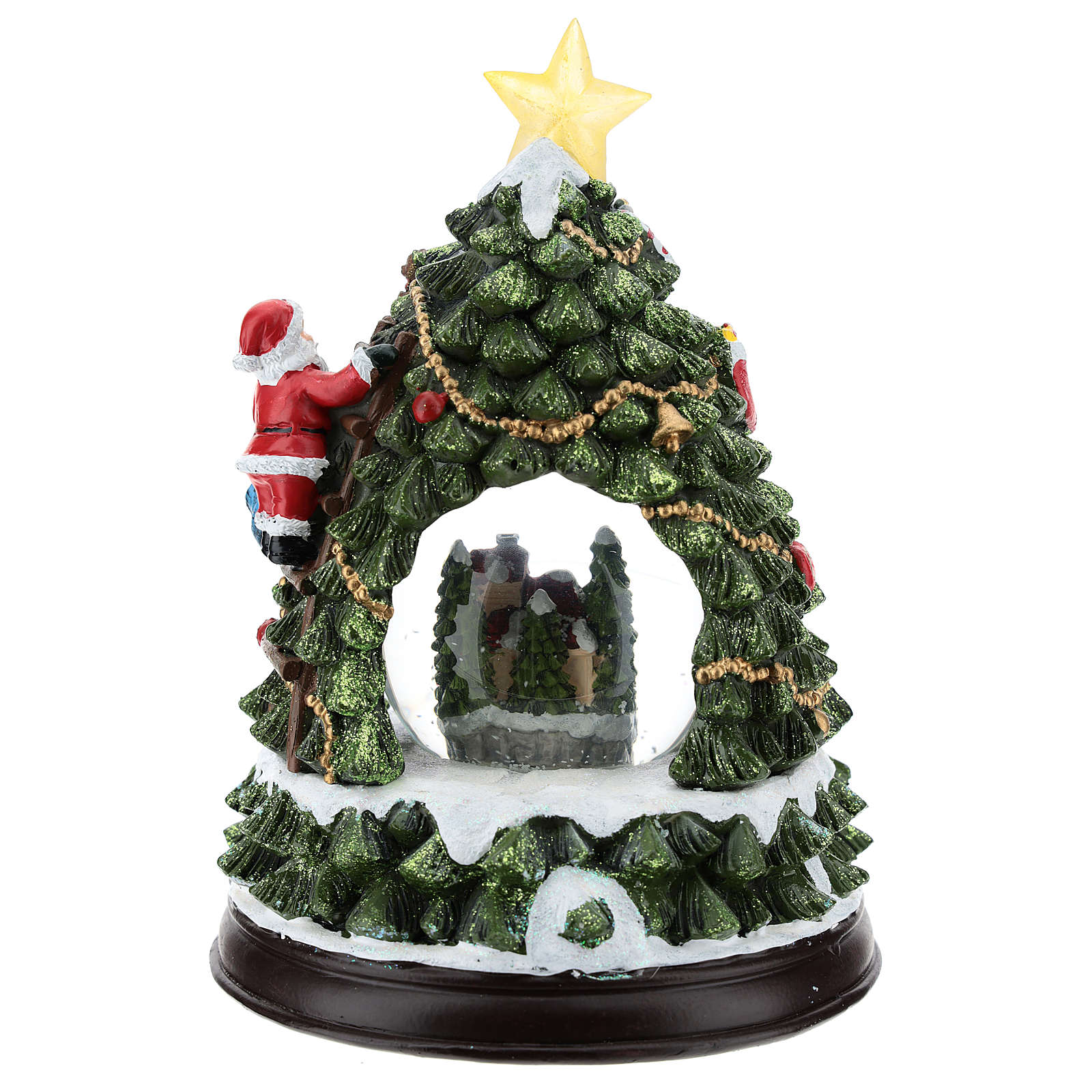 Christmas In Evergreen Snow Globe.Christmas Tree Statue With Snow Globe H 25 Cm