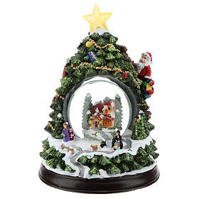 Christmas tree statue with snow globe h. 25 cm s1