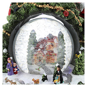 Christmas tree statue with snow globe h. 25 cm s2
