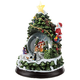 Christmas tree statue with snow globe h. 25 cm s3