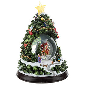 Christmas tree statue with snow globe h. 25 cm s4