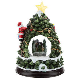 Christmas tree statue with snow globe h. 25 cm s5