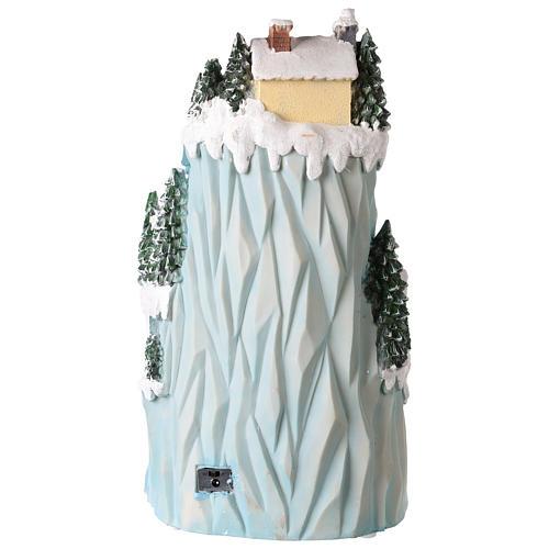 Villaggio natalizio in resina 43x24 cm con pista di pattinaggio in movimento 5