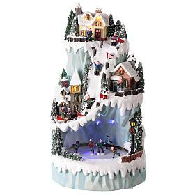 Cenários Natalinos em Miniatura: Cenário natalino em resina 43x24 cm com pista de patinagem em movimento