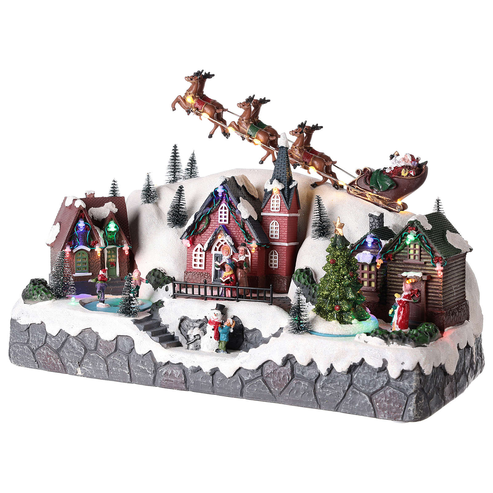 Christmas village with Santa Claus on a moving sleigh 25x40x20 cm 3
