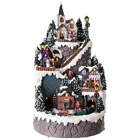 Christmas village made entirely of resin 42x24 cm structured on several levels s1