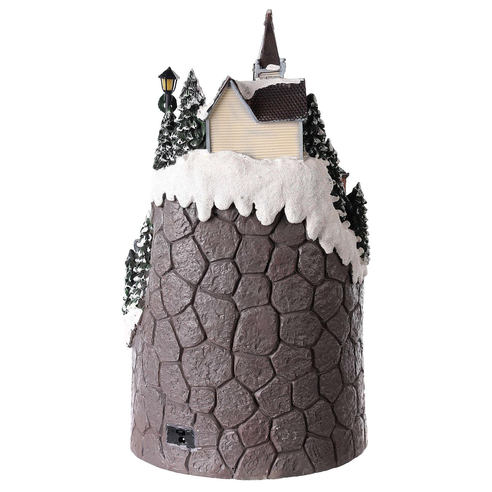 Pueblo navideño realizado de resina 42x24 cm estructura con más niveles 3