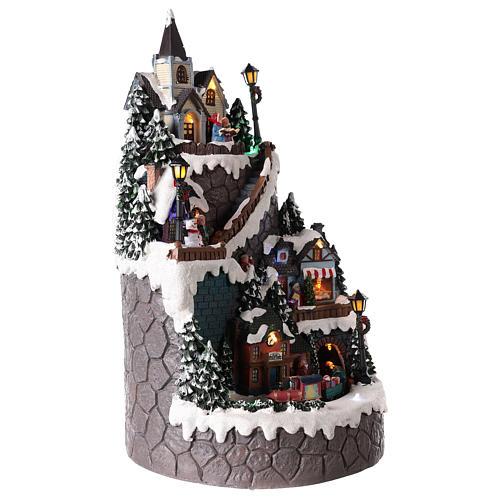 Pueblo navideño realizado de resina 42x24 cm estructura con más niveles 4