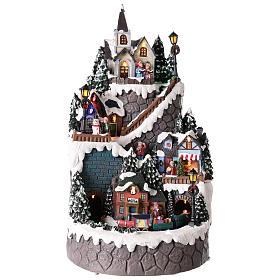 Villages de Noël miniatures: Village Noël réalisé en résine 42x24 cm sur plusieurs niveaux