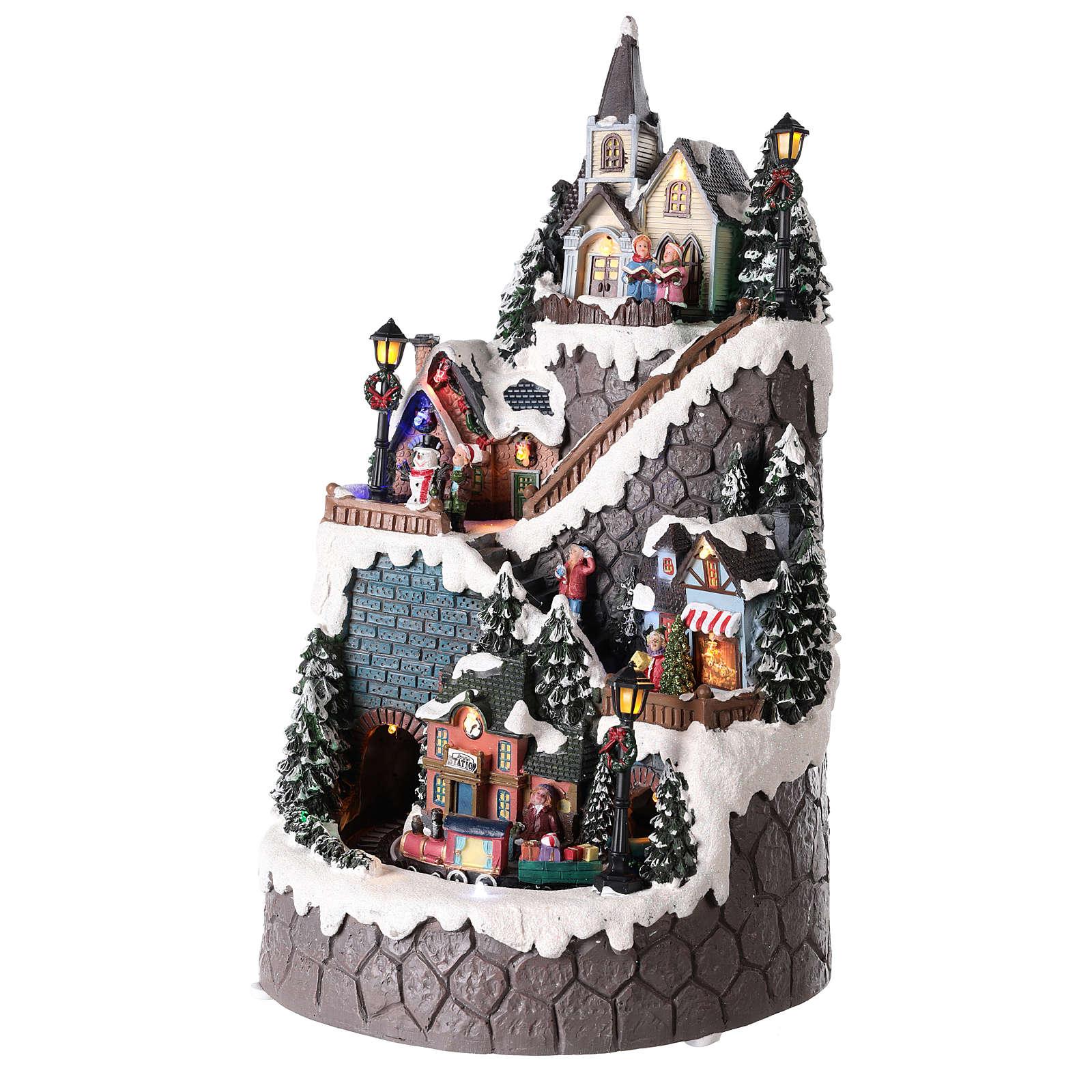 Villaggio natalizio realizzato in resina 42x24 cm strutturato su più livelli 3