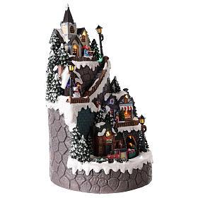 Villaggio natalizio realizzato in resina 42x24 cm strutturato su più livelli s4