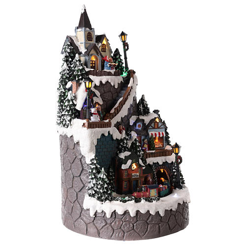 Villaggio natalizio realizzato in resina 42x24 cm strutturato su più livelli 4