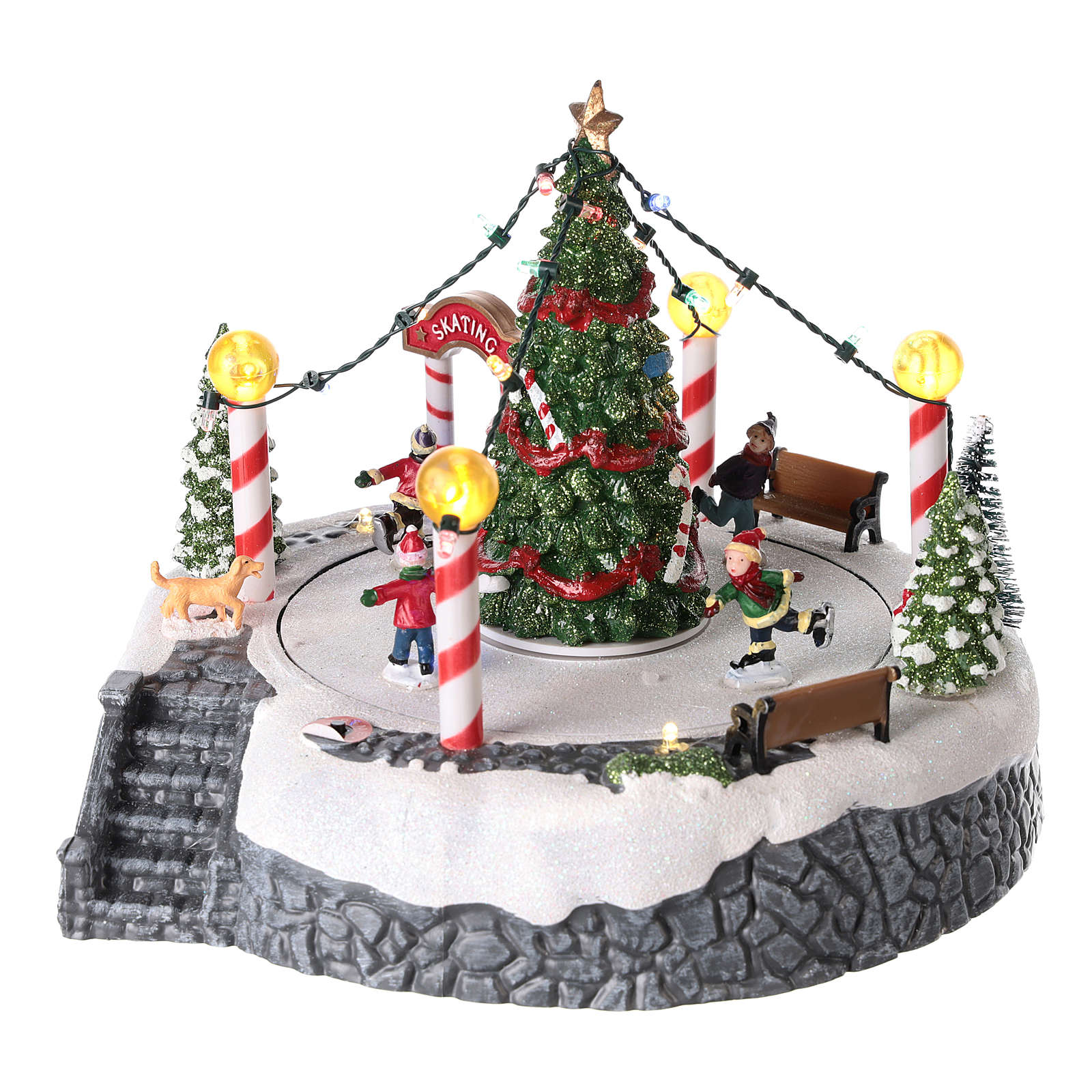 Round village with central tree and revolving skating rink 20x22 cm 3