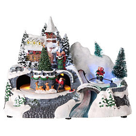 Illuminated Christmas village with church and waterfall 20x25x15 cm s1