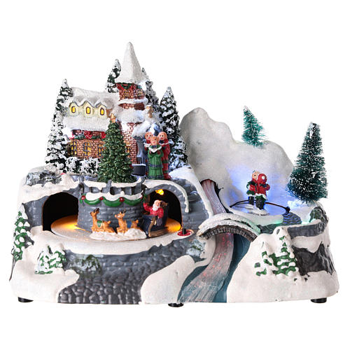 Illuminated Christmas village with church and waterfall 20x25x15 cm 1