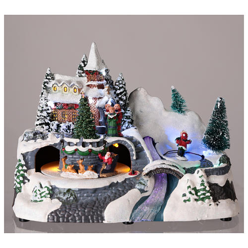Illuminated Christmas village with church and waterfall 20x25x15 cm 2