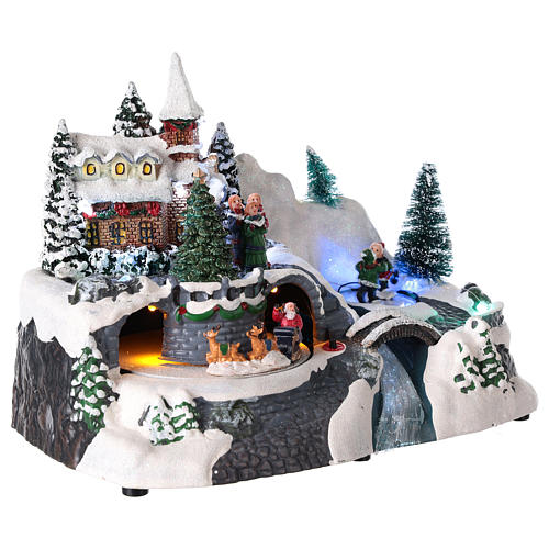 Illuminated Christmas village with church and waterfall 20x25x15 cm 4