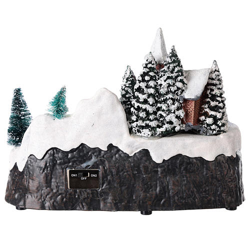 Illuminated Christmas village with church and waterfall 20x25x15 cm 5