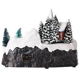 Village de Noël avec église et chute d'eau éclairée 20x25x15 cm s5