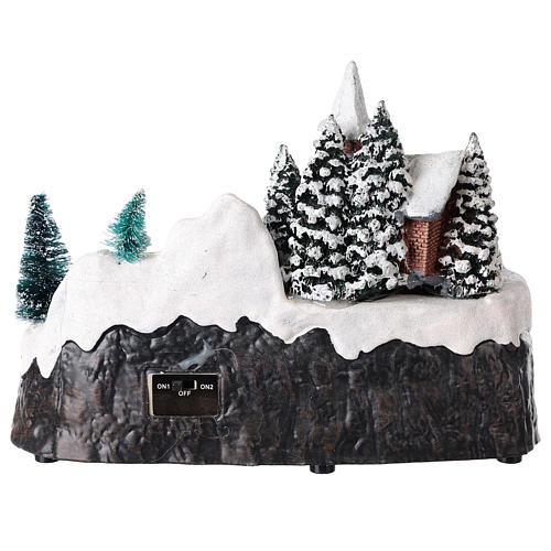 Cenário natalino com igreja e cascata iluminado 20x25x15 cm 5