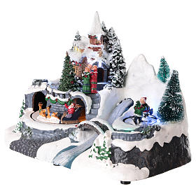 Lighted Christmas village with church and water fall 20x25x15 cm s3