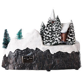 Lighted Christmas village with church and water fall 20x25x15 cm s5