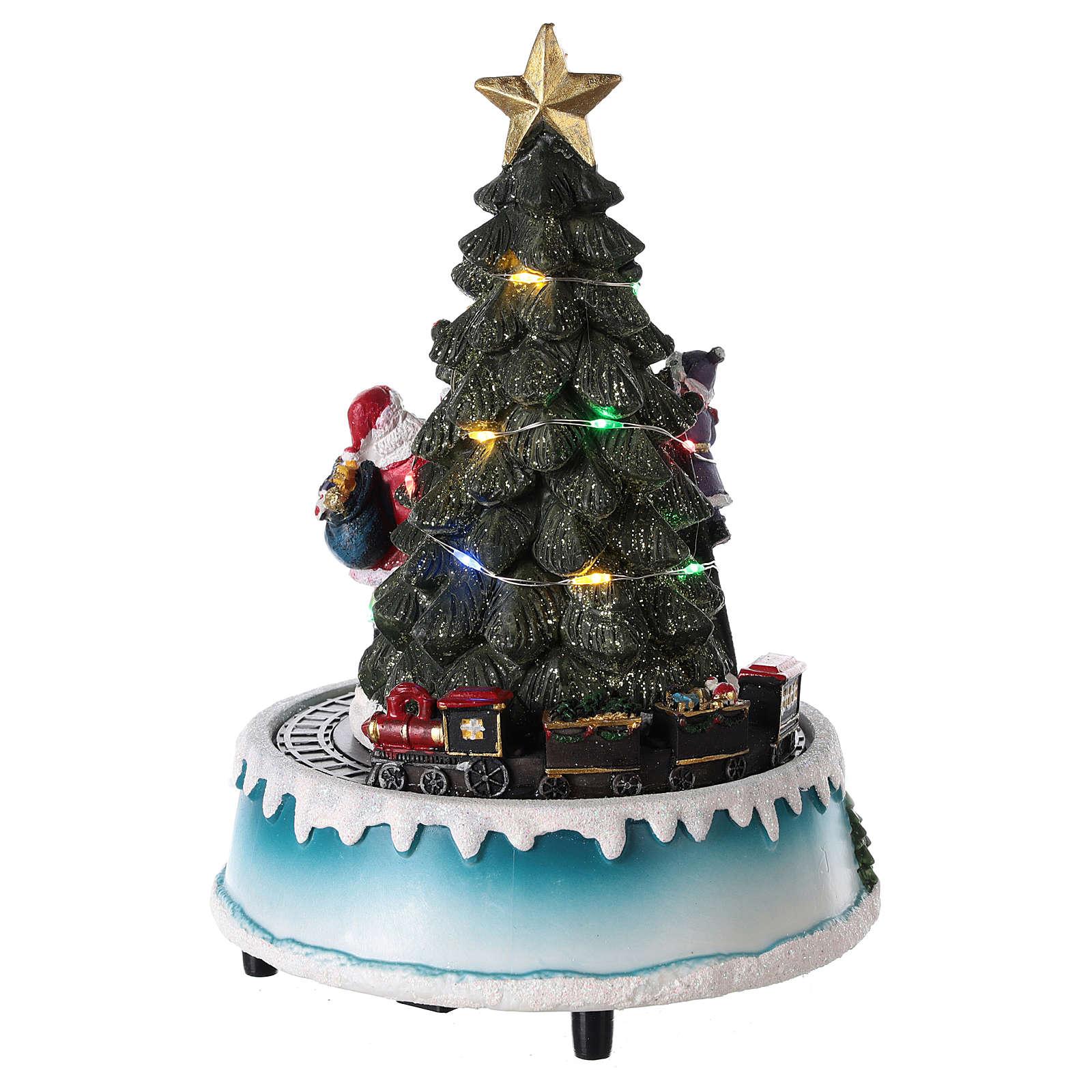 winterszene mit weihnachtsbaum weihnachtsmann und. Black Bedroom Furniture Sets. Home Design Ideas
