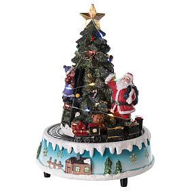 Árbol de Navidad con Papá Noel y tren 15x20 cm s1