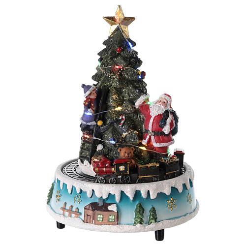 Árbol de Navidad con Papá Noel y tren 15x20 cm 1
