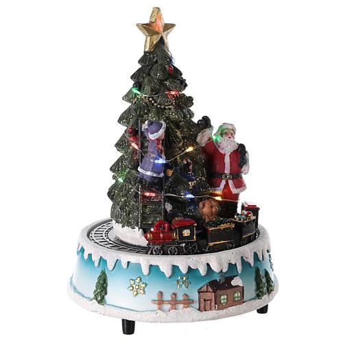 Árbol de Navidad con Papá Noel y tren 15x20 cm 4