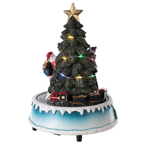 Árbol de Navidad con Papá Noel y tren 15x20 cm 5