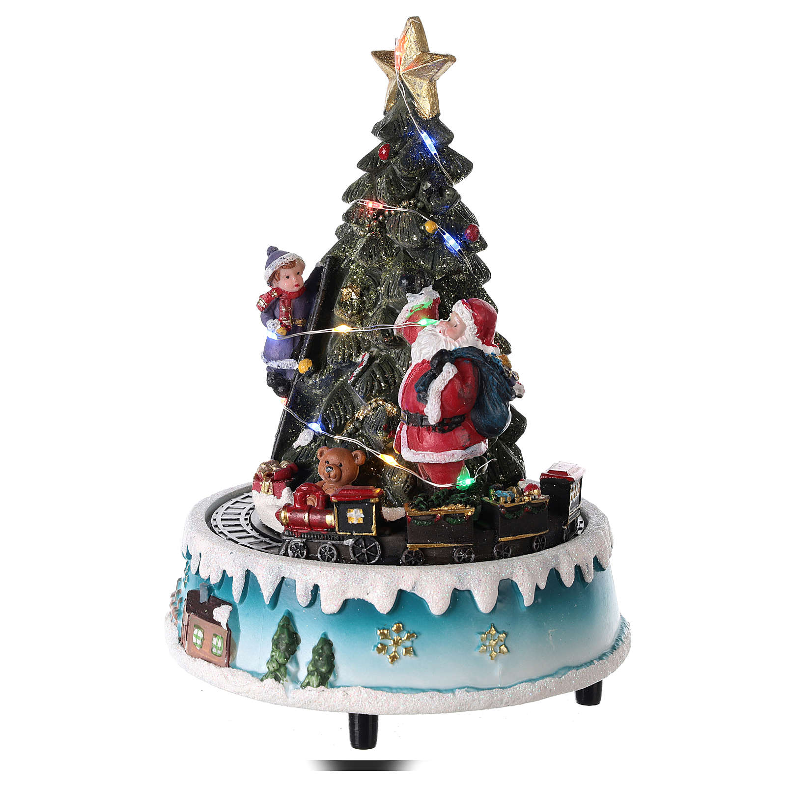 Sapin de Noël avec Père Noël et train 15x20 cm 3