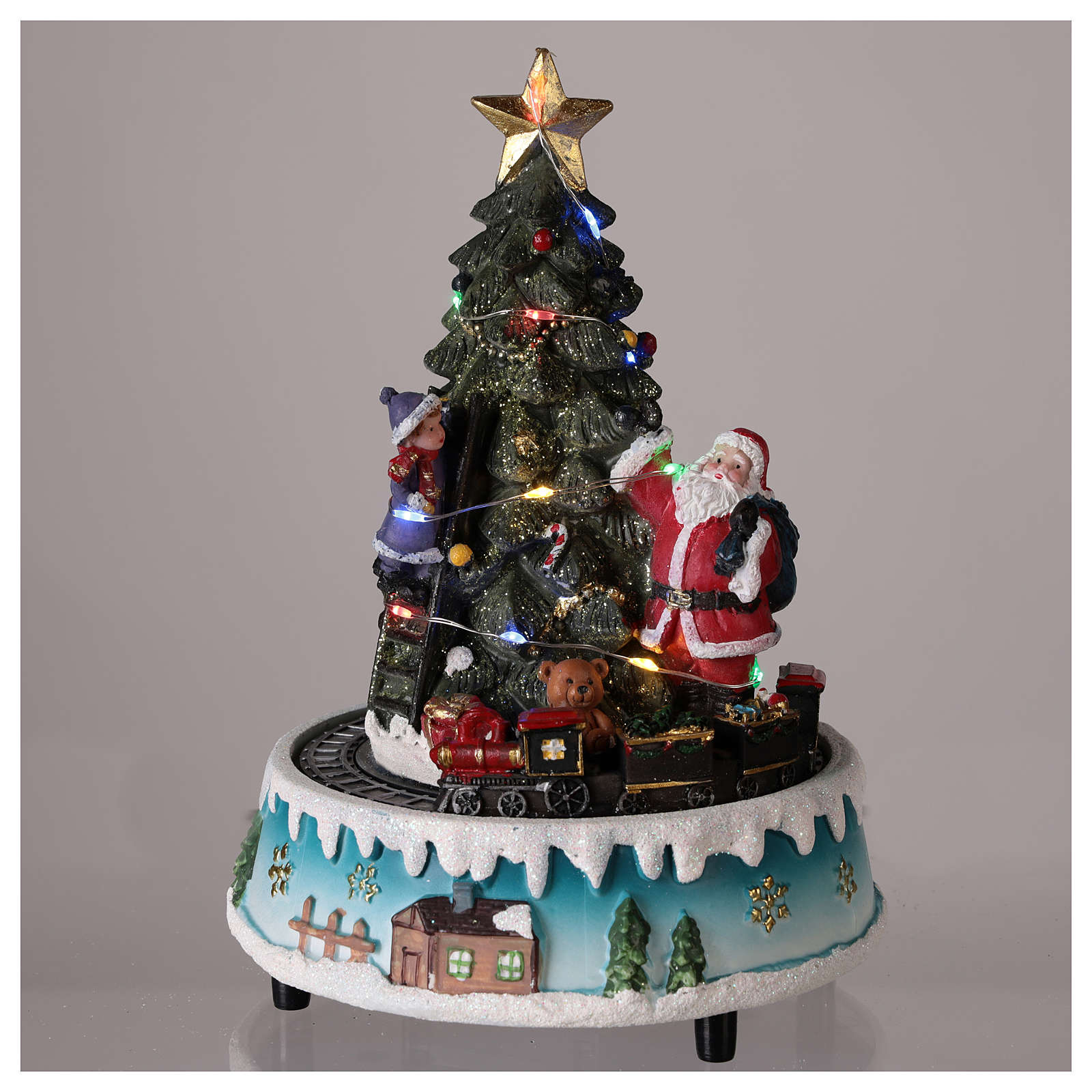 Albero di Natale con Babbo Natale e trenino 15x20 cm 3