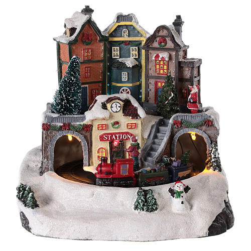 Christmas Village with moving train 20x15 cm 1
